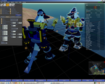 """Building in SL. Objects can be set to snap to a grid (visible here). X and Y coordinates are horizontal, Z is vertical, with  being the southwest corner of the current simulator. The object currently being edited glows. The root primitive glows yellow, child prims glow white. In this case many objects are being edited at the same time. The orange dots are the """"editing ray"""" and come from the avatar's left hand."""