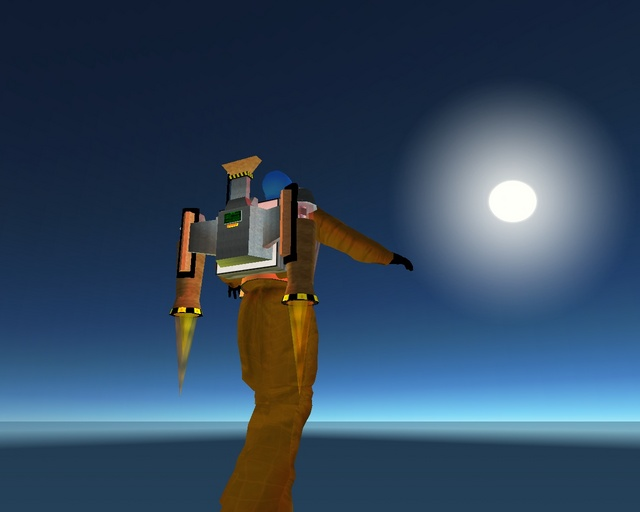 Avatars (characters) in Second Life can fly to an altitude of 200 meters unassisted. With the right equipment, however, the sky's the limit: this shot was taken eight kilometers up.