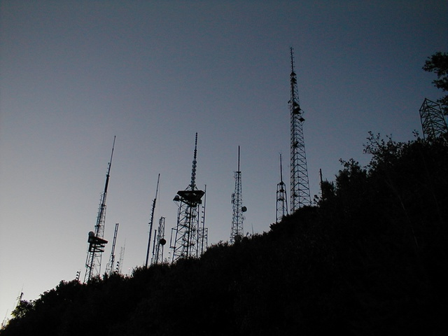 Several radio and television towers at Mt. Wilson.