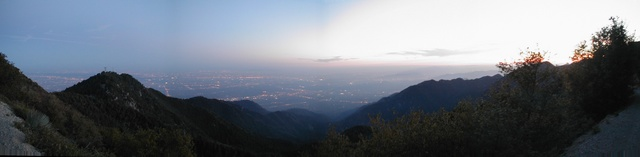 View over San Gabriel Valley, Los Angeles, from Mt. Wilson at early dusk
