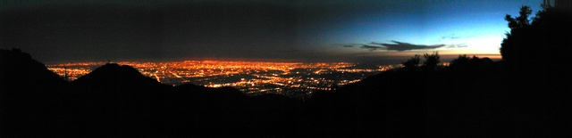 View over San Gabriel Valley, Los Angeles, from Mt. Wilson at the end of twilight