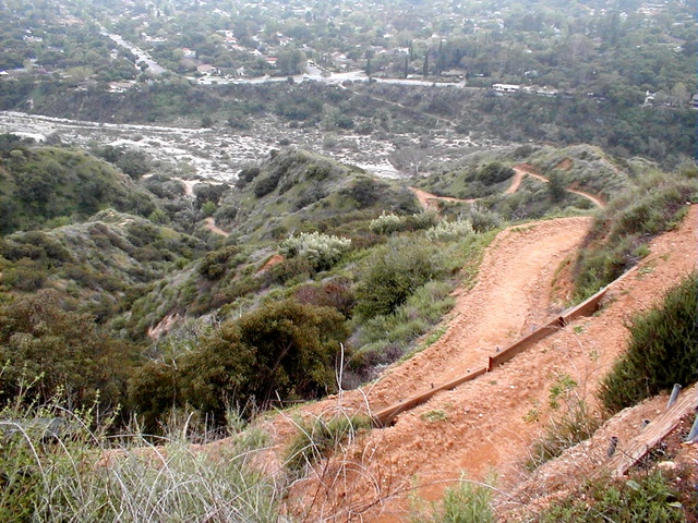 The horse trail... However steep that looks, multiply it by ONE BILLION. Beyond the horse trail is the box canyon and after that is Altadena Drive.