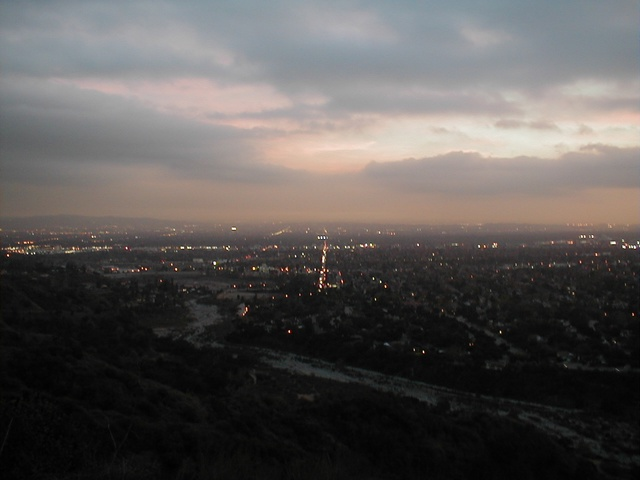 View of north Pasadena. The 'vertical' street in the middle is Altadena Drive. The 210 freeway crosses horizontally about halfway between the head of Altadena and the horizon.
