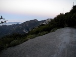 "This is about 30 feet down from the top of the Mt. Wilson toll road. What you are seeing is the trail itself and some mountains in the background. This is where I take all my ""Los Angeles by night"" photos."