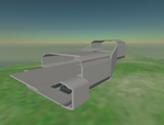 The Hangar extends out past the engine box. On completion, it will have a clamshell door that can open and close. It can be used as a bay for smaller craft, or it can be used for meetings and parties. It can also be used to work on anything too big for the Laboratory.
