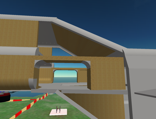 The ship's two airlocks are under construction.