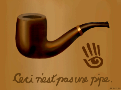 This is a somewhat political piece, concerning the nature of virtual property in Second Life. As Magritte pointed out, there is a difference between an actual pipe and a painting that merely looks like one. Based on 